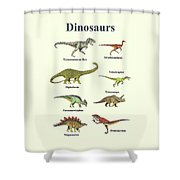 Dinosaurs Montage - Portrait Shower Curtain