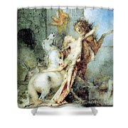 Diomedes Devoured By His Horses Watercolour Gustave Moreau Shower Curtain