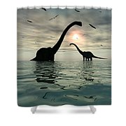 Diplodocus Dinosaurs Bathe In A Large Shower Curtain