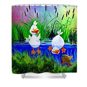 Dipping Duckies - Furry Forest Friends Mural Shower Curtain