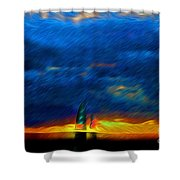 Directionless Familiar II Shower Curtain