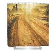 Dirt Road Sunrise Shower Curtain