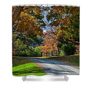 Dirt Road Through Vermont Fall Foliage Shower Curtain