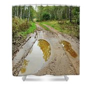 Dirty Autumn Road With Brown Pools After Rain Shower Curtain