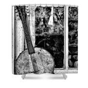 Dirty Banjo Mandolin Shower Curtain