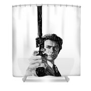 Dirty Harry Charcoal Shower Curtain