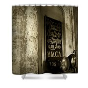 Disappearing Railroad Blues Shower Curtain