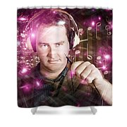 Disconnected Male Dj Holding Unplugged Audio Jack Shower Curtain