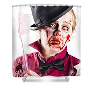 Diseased Woman With Big Toothbrush Shower Curtain
