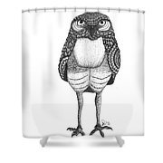 Disgruntled Owl Shower Curtain