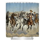 Dismounted The Fourth Troopers Moving The Led Horses Shower Curtain