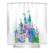 Disney Castle 2 Watercolor Print Shower Curtain