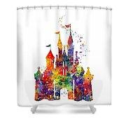 Disney Castle 6 Watercolor Print Shower Curtain