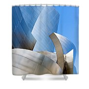 Disney Hall In Blue And Silver Shower Curtain by Lorraine Devon Wilke