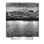 Disney World Boardwalk Gazebo Panorama Bw Shower Curtain