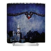 Disneyland Castle At Christmas Time Shower Curtain