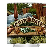 Disneyland Chip And Dale Signage Shower Curtain
