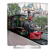 Disneyland Railroad Engine 3 With Castle Shower Curtain