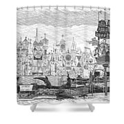 Disneyland Small World Panorama Pa Bw Shower Curtain