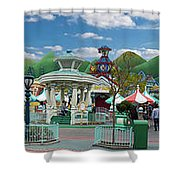 Disneyland Toontown Young Man Proposing To His Lady Panorama Shower Curtain