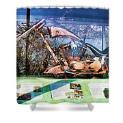 Display Lady Liberty Copper Bike Ny Shower Curtain