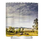 Distant Car Wrecks On Outback Australian Land  Shower Curtain