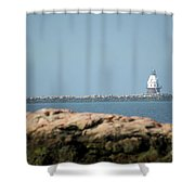 Distant Lighthouse Shower Curtain