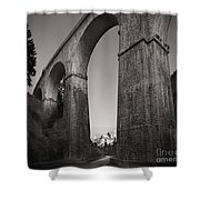 Distant Mountain And Long Bridge Shower Curtain