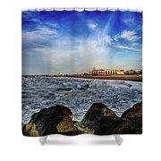Distant Pier Shower Curtain