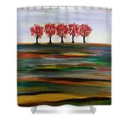 Distant Trees Shower Curtain by Carolyn Weir