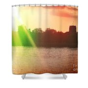 Distorted Sunset Shower Curtain