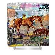 Distracted Riding Shower Curtain by Martha Ressler
