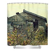 Distressed Honey House Door County Wisconsin Shower Curtain