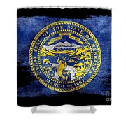 Distressed Nebraska Flag On Black Shower Curtain