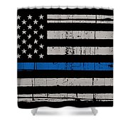Distressed Thin Blue Line Shower Curtain