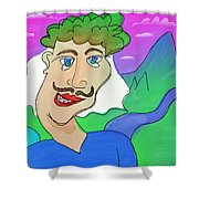 Disturbed And Synchromatic Portrait Of Salezjan Wiencikowski, Well Known Freak And Funny Person Shower Curtain