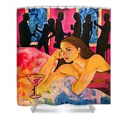 Ditched, Nightclub Bar Painting Shower Curtain