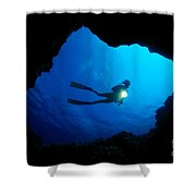 Diver At Cavern Entrance Shower Curtain by Dave Fleetham - Printscapes