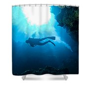 Diver At Pakin Atoll Shower Curtain