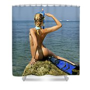 Diver On Guard. Shower Curtain