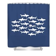 Diver Swimming With Sharks Shower Curtain