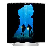 Divers Silhouetted Through Reef Shower Curtain