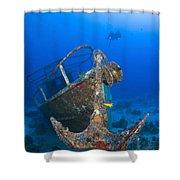 Divers Visit The Pelicano Shipwreck Shower Curtain