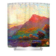 Buddha Meditation, Divine Light Shower Curtain