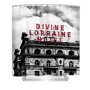 Divine Lorraine Hotel Marquee Shower Curtain by Bill Cannon