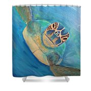 Diving Sea Turtle Shower Curtain