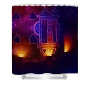 Diwali Card Lamps And Murals Blue Orange India Rajasthan 2f Shower Curtain