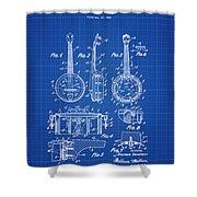 Dixie Banjolele Patent 1954 In Blue Print Shower Curtain