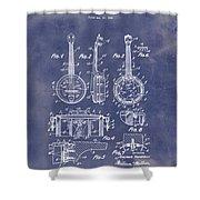 Dixie Banjolele Patent 1954 In Grunge Blue Shower Curtain
