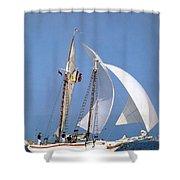 dk tall ships fiddlers green gaff schooner lyr 1973 D K Spinaker Shower Curtain